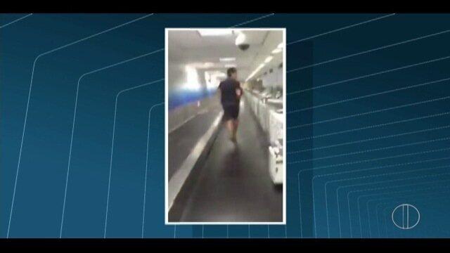 Jogador brasileiro de showbol registra pânico em aeroporto nos EUA