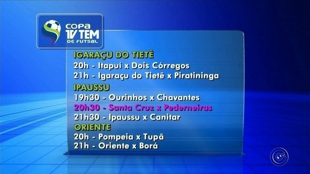 Rodada da Copa TV TEM em Bauru terá 22 jogos nesta terça-feira