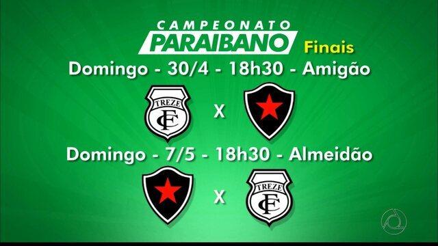 Confira a tabela das finais do Campeonato Paraibano entre Botafogo-PB e Treze