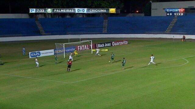 Iacovelli tenta o gol, mas Vinicius faz linda defesa para o Criciúma contra o Palmeiras