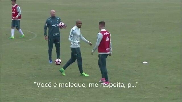 Felipe Melo e Roger Guedes se desentendem em treino do Palmeiras