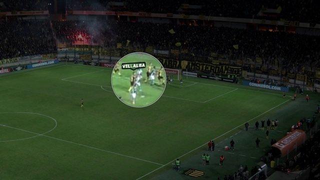 Imagens mostram início da confusão entre Peñarol e Palmeiras
