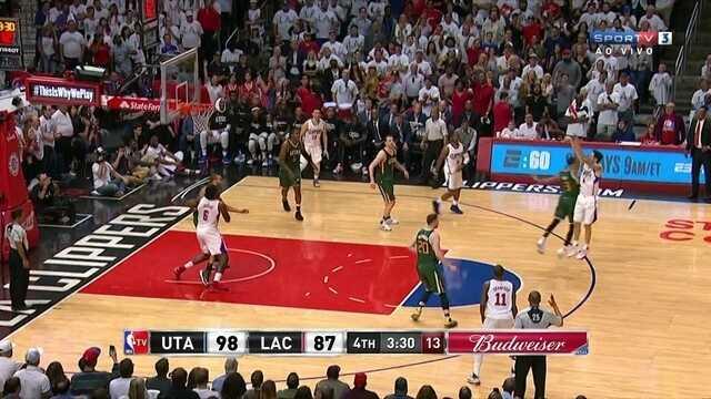 4º Quarto - Clippers chega perto com cesta de 3 - Utah 98 x 90 Los Angeles