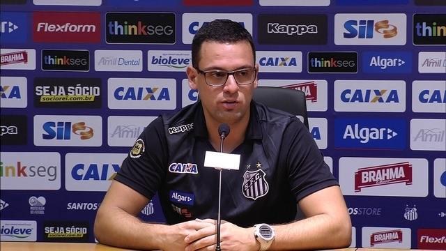 Veja a entrevista coletiva do auxiliar do Santos, Lucas Silvestre, filho de Dorival Júnior