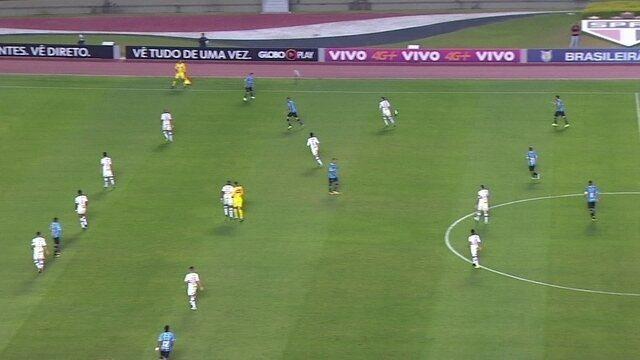 São Paulo todo atrás da linha da bola no jogo contra o Grêmio