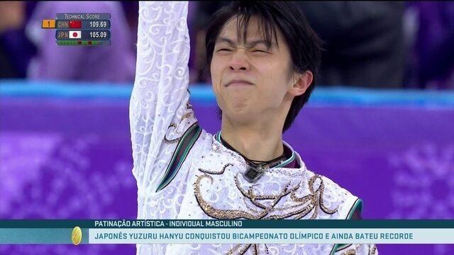 Momento olímpico: japonês Yuzuru Hanyu conquista bicampeonato na patinação artística