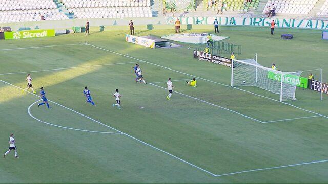 Maikinho dispara na esquerda, deixa a marcação para trás, finaliza firme e Wilson defende