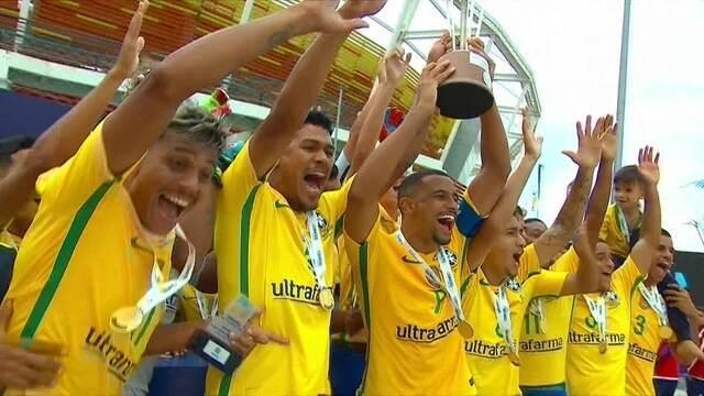 Os gols de Brasil 6 x 1 Paraguai pela final da Liga Sul-Americana de futebol de areia