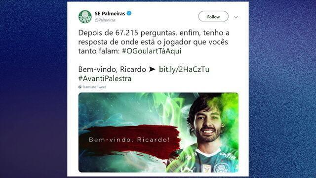 Central do mercado: Palmeiras anuncia contratação de Ricardo Goulart