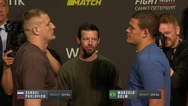 Sergey Pavlovich e Marcelo Golm participam da pesagem do UFC Fight Night 149