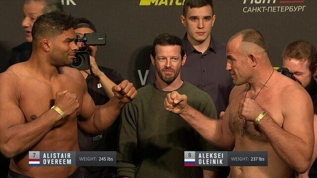 Aleksei Oleinix e Alistair Overeem participam da pesagem do UFC Fight Night 149
