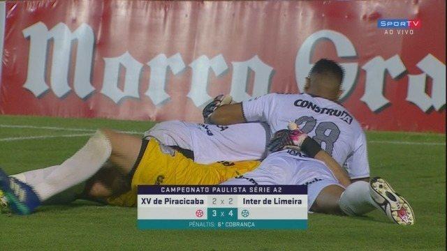 Os pênaltis de XV de Piracicaba 3x4 Inter de Limeira pela semifinal da Série A2