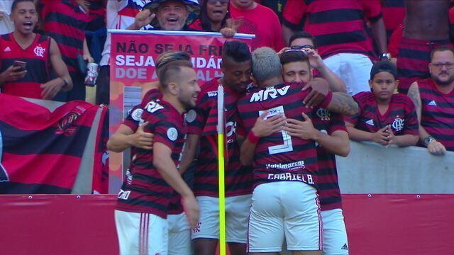 Gol do Flamengo! Everton Ribeiro tabela com Gabriel e Arrascaeta recebe e chuta para abrir o placar, aos 5` do 1º tempo