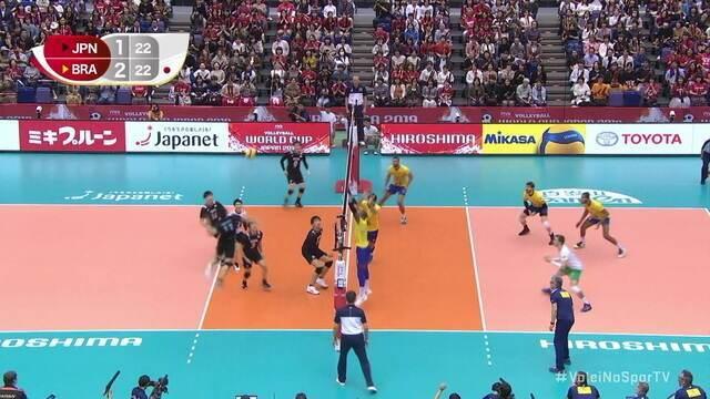 4º set: pós longo rali, Japão para no ataque, e Brasil fica a dois pontos 22/23