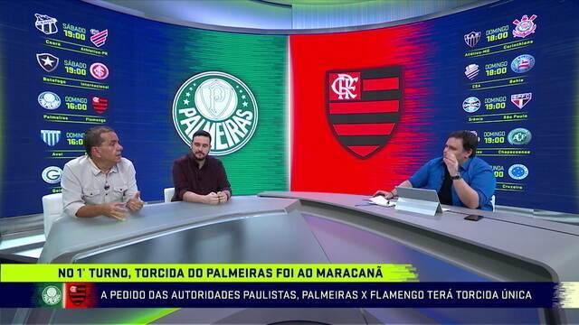 Comentaristas discutem o fato de Flamengo e Palmeiras ser com torcida única