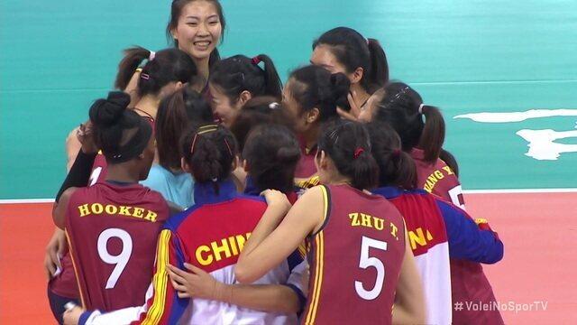 Pontos finais de Tianjin 3 x 2 Praia Clube pelo Mundial de Clubes de vôlei feminino