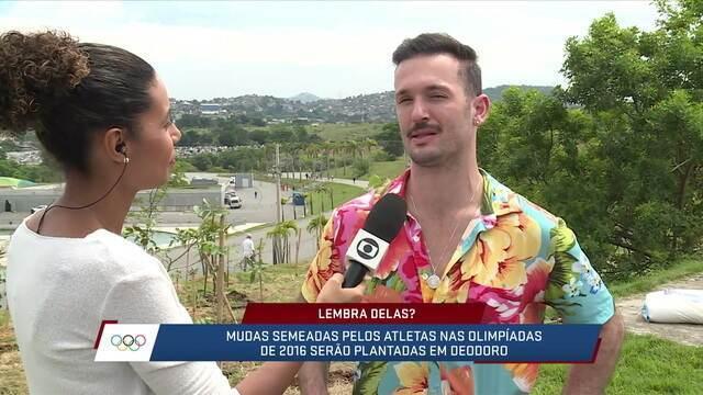 Diego Hypolito participa de plantio da Floresta dos Atletas no Parque Radical no Rio
