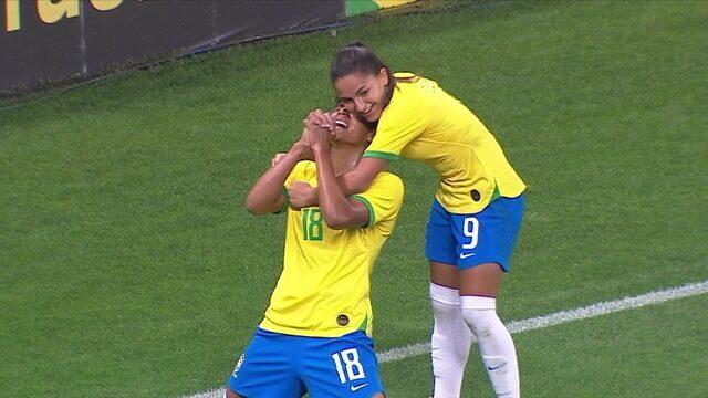 Gol do Brasil! Duda abre o placar, aos 9' do 1º tempo