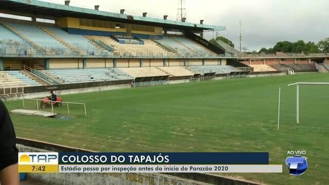 Estádio Colosso do Tapajós é vistoriado antes do início do Parazão 2020