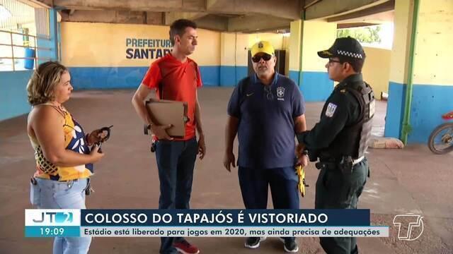 Colosso do Tapajós é vistoriado antes do jogo que será no domingo, 26