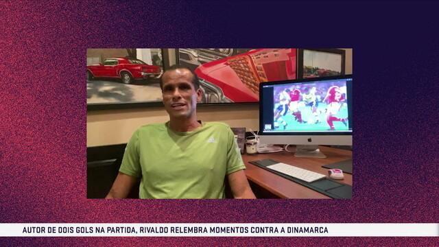 """Rivaldo relembra vitória da Seleção contra a Dinamarca na Copa de 1998: """"Grande jogo"""""""