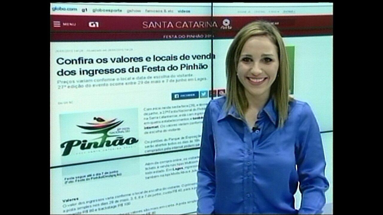 1f8f85b195b33 Acompanhe a cobertura do G1 SC da Festa do Pinhão - G1 Santa Catarina -  Jornal do Almoço - Catálogo de Vídeos