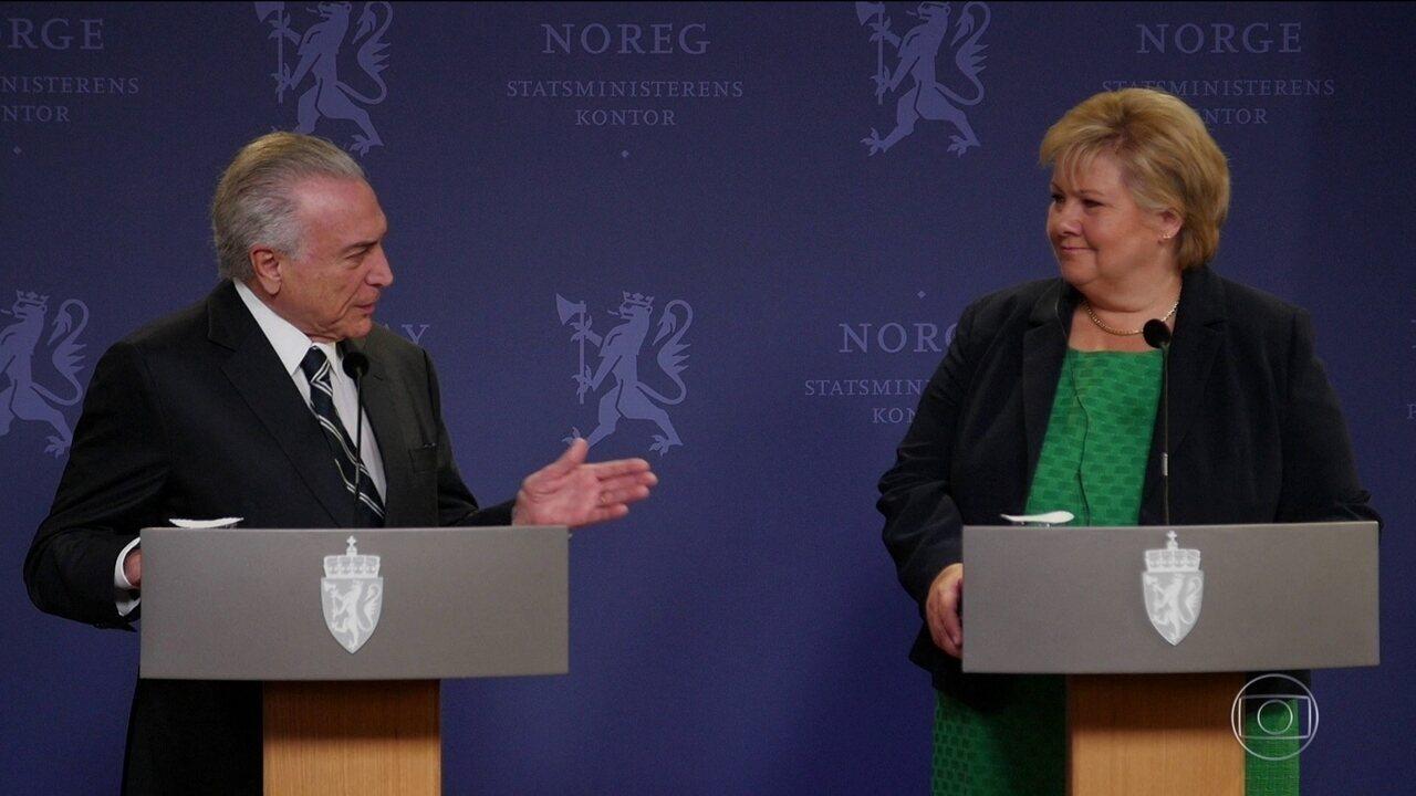 Resultado de imagem para OSLO – A viagem do presidente Michel Temer a Oslo
