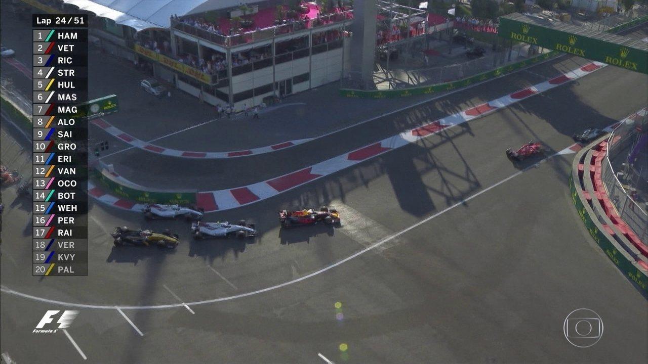 Relargada no Azerbaijão e Felipe Massa volta mal para a prova