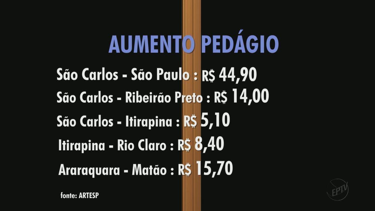 Pedágios terão reajuste e sobem para R$ 7,80