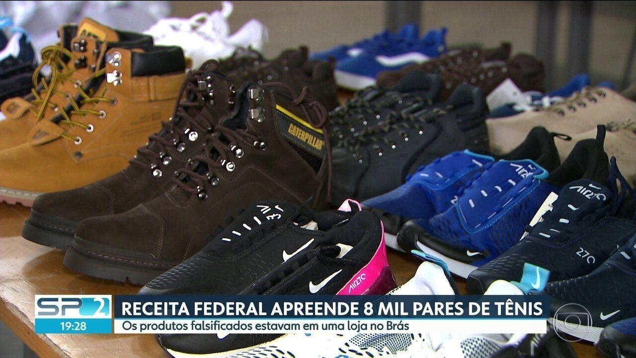 48c373595 8 mil pares de tênis falsificados são apreendidos no Brás - G1 São Paulo -  Vídeos - Catálogo de Vídeos