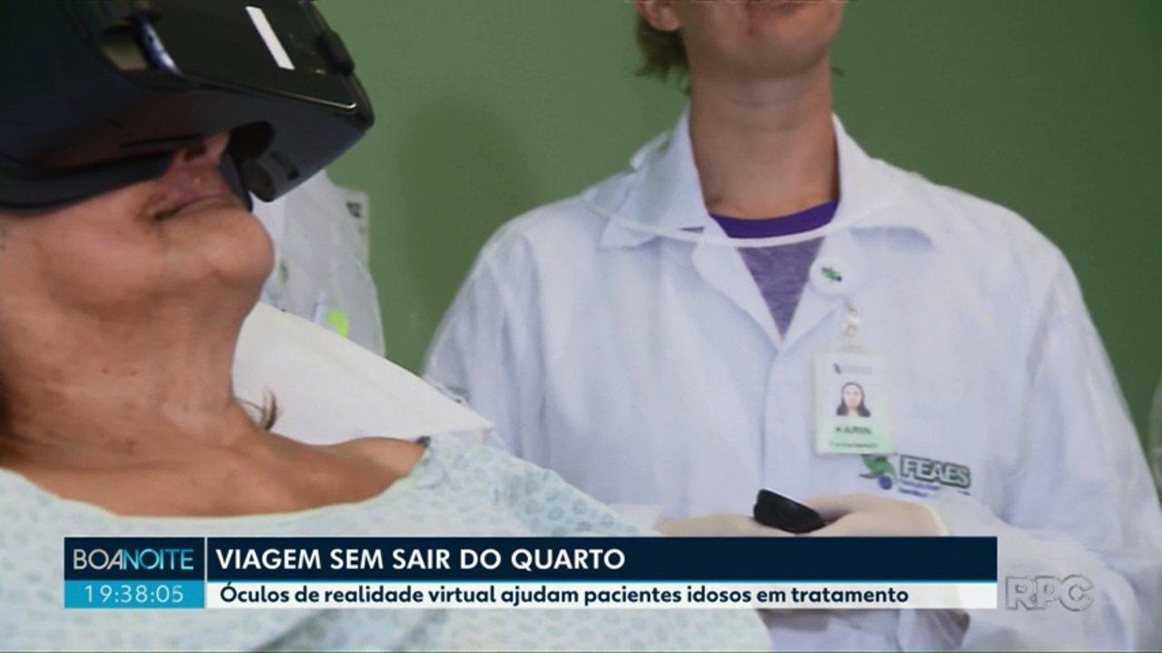 5c6ed8366 Óculos de realidade virtual ajudam pacientes idosos em tratamento em hospital  de Curitiba - G1 Campos Gerais e Sul do Paraná - Paraná TV 2ª Edição ...