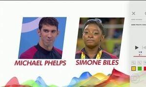 Phelps e Biles disputam condição de maior estrela dos EUA na Olimpíada