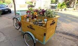 Empresários inovam ao transformar a bicicleta em floricultura