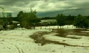 Chove granizo no Rio Grande do Sul
