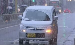 Frio antecipado traz neve fora de época em Tóquio
