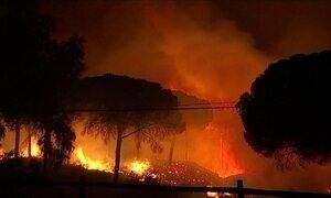 Incêndio florestal ameaça área de preservação ambiental na Espanha