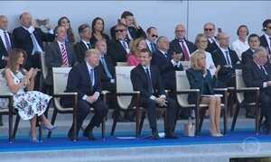 Trump e Emmanuel Macron participam da celebração da Queda da Bastilha