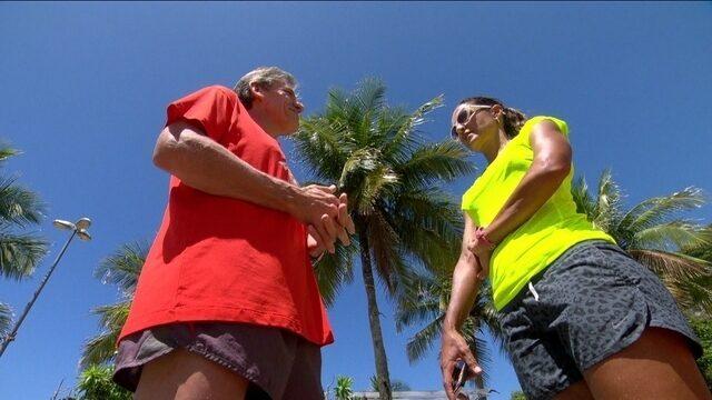 João recebe as dicas da melhor triatleta do Brasil, Fernanda Keller, na reta final para a maratona
