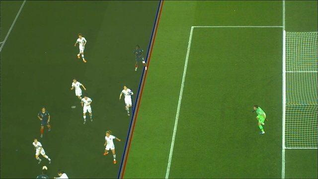 França marca, mas VAR anula por impedimento, aos 26' do 1º tempo