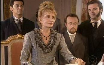 Baú da Globo: reveja a minissérie Chiquinha Gonzaga - Na cena, princesa Isabel assinou a Lei Áurea no dia 13 de maio de 1888.