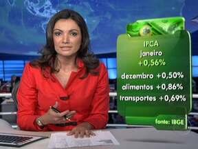 Preços de alimentos e transportes pesam na inflação de janeiro - Em janeiro, a inflação oficial do Brasil ficou em 0,56%. Os preços dos alimentos e dos transportes foram os que mais pesaram. A meta do governo para 2012 é de uma inflação de 6,5%.