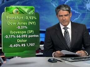 Bolsa de Valores de São Paulo fecha em baixa - O índice da Bovespa terminou esta quarta-feira (22) com queda de 0,17%. O Dow Jones, de Nova York, também se desvalorizou, 0,21%. A cotação do dólar caiu para R$ 1, 707.