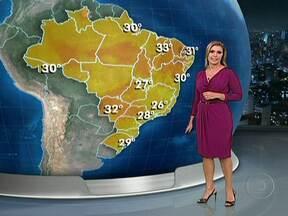 Tempo vai continuar seco em parte do Nordeste do Brasil - Em algumas cidades da Bahia e do centro de Pernambuco não chove há 40 dias. Nesta terça (3), faz sol o dia todo do Rio Grande do Sul a Goiás. No Espírito Santo, no Acre e no Rio Grande do Norte, chove à tarde.