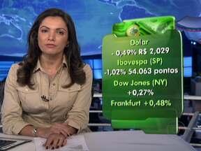 Cotação dólar cai com esforço do Banco Central - A cotação da moeda americana caiu para R$ 2,029. Entre as bolsas de valores, a de São Paulo encerrou em queda. As de Nova York e da Europa subiram.