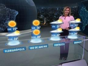 Temperaturas vão voltar a subir lentamente no Centro-Sul do Brasil - A máxima chega a 19°C em Porto Alegre, a 20°C em São Paulo e a 24°C no Rio. Amanhece gelado, com mínima de 5°C em Curitiba e 9°C em Campo Grande, com previsão de nevoeiro e geada no Sul, Sudeste e Centro-Oeste.