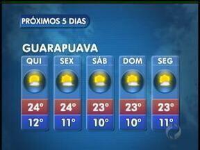 A quinta-feira vai ser ensolarada na região de Guarapuava - Não existe previsão de chuva nas cidades da região. As temperaturas se elevam um pouco mais pela manhã. A máxima prevista é de 26 graus em União da Vitória.