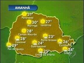 Vai sair de casa? Não deixe de dar uma olhada na previsão do tempo - Muito sol em todo o Paraná neste sábado e também no domingo. As temperaturas ficam em torno de 27 graus na região de Londrina neste fim de semana. Não há previsão de chuva para os próximos dias.