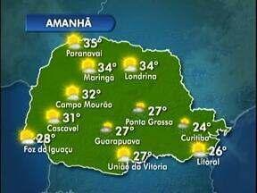 Quarta-feira de tempo instável etre Curitiba e as praias - Deve chover fraco,mas também faz sol em alguns períodos;