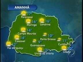 Sol continua forte em Maringá - Em Campo Mourão sol entre nuvens