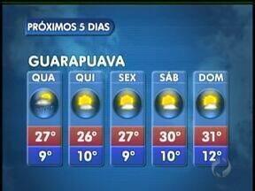 A quarta-feira vai ter sol e possibilidade de pancadas de chuva em Guarapuava - O sol aparece, mas à tarde podem ocorrer pancadas rápidas e isoladas de chuva. As temperaturas continuam elevadas. A máxima prevista é de 27 graus na cidade.
